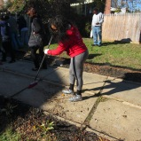 Sorority and fraternity members came out to help in the effort, including sweeping and clean up.